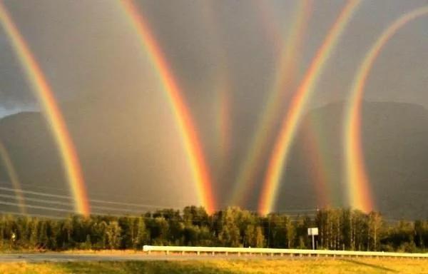 4.) સુર્યનો પ્રકાશ આપણને સફેદ રંગનો દેખાય છે પરંતુ હકીકતમાં તે સાત રંગોનાં મિશ્રણથી બને છે અને આપણે તેને માત્ર પ્રિઝમમાં જ જોઈ શકીએ છીએ. જ્યારે વરસાદની ઋતુમાં સૂર્યનો પ્રકાશ એક સાથે લાખો ટીપાંથી પરાવર્તિત અને અપરાવર્તિત થાય છે ત્યારે પાણીનાં ટીપાં પ્રિઝમનું કામ કરે છે જેને કારણે આપણે સૂર્યપ્રકાશનાં એ સાત રંગો ખુલા આકાશમાં જોઈ શકીએ છીએ. અને તેને જ આપણે રેઈન્બો એટલે કે મેઘધનુષ્યનાં નામથી ઓળખીએ છીએ.
