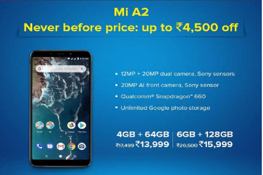 Mi A2 4GB RAMની નવી કિંમત 13,999, જ્યારે 6GB RAM અને 128GB ઇન્ટરનલ સ્ટોરેજવાળા ફોનની કિંમત 15,999 છે.