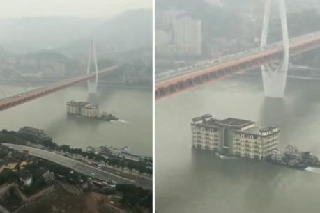 ચીનની નદીમાં પાંચ માળનું બિલ્ડિંગ તરતું દેખાયુ, વીડિયો વાયરલ!